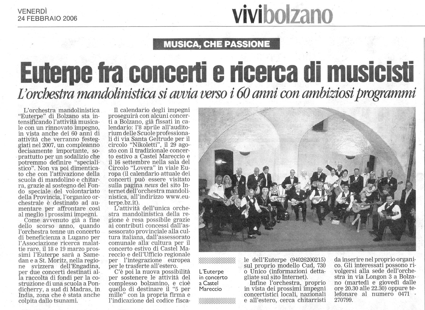 Circolo mandolinistico euterpe mandolinenensemble for Necrologi defunti bolzano giornale alto adige